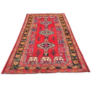 Vintage Persian Rug Qashqai Tribal Rug Plush Hand Knotted Wool Vibrant For Sale