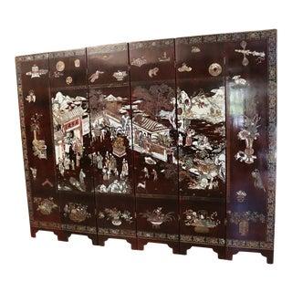 20th Century Chinese Coromandel 6-Panel Folding Screen For Sale