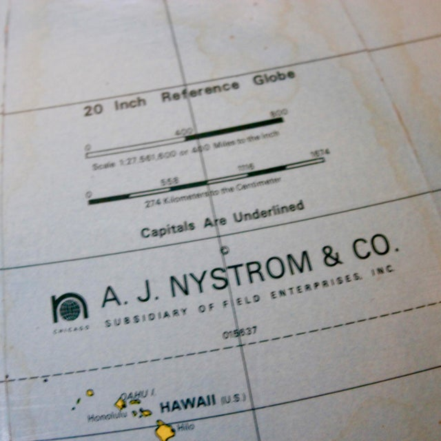 A J Nystrom & Co. 1968 Standing Library Globe For Sale - Image 11 of 12