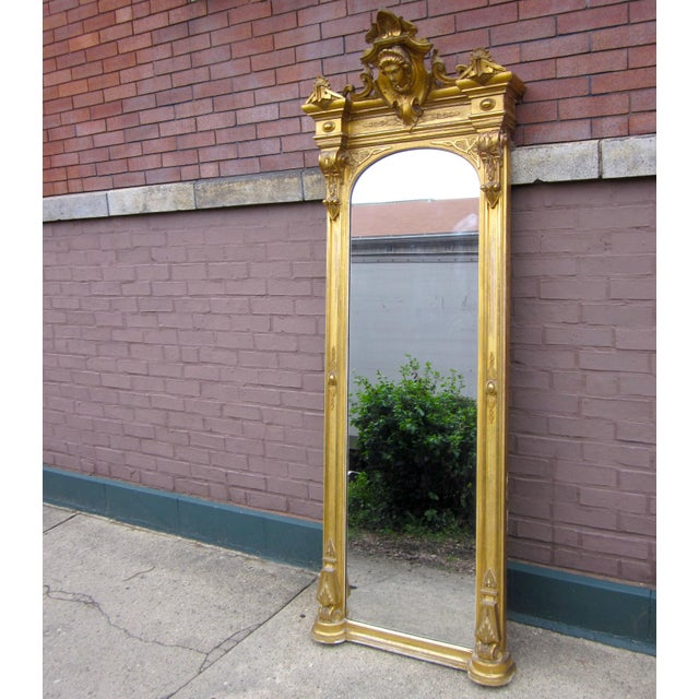 Neoclassical 1820 Antique Renaissance Revival Gold Gilt Pier Mirror With Bust of Columbia For Sale - Image 3 of 7