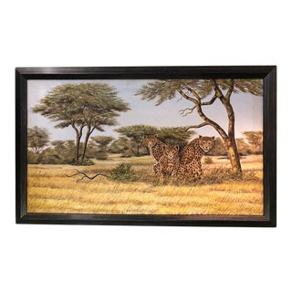 Mid 20th Century Oil Painting of Leopards in Kenya, Framed For Sale
