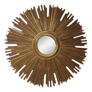 Gilt Sunburst Convex Mirror For Sale