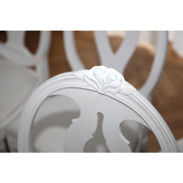 White 1900s Vintage Swedish Gustavian Style Dining Chair (16 Available) For Sale - Image 8 of 10