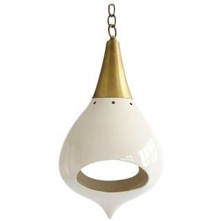 1960s Mod Brass and Ceramic Hanging Lamp For Sale