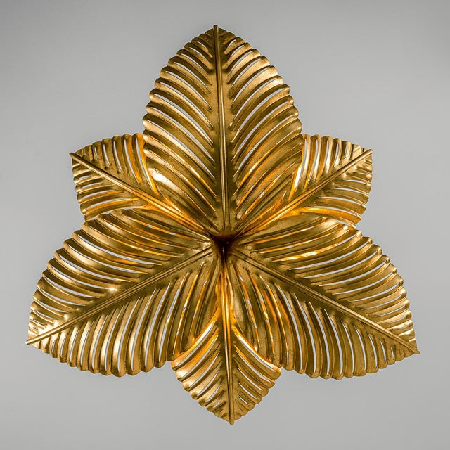 Art Deco Palm Leaves Pendant Light For Sale - Image 3 of 4