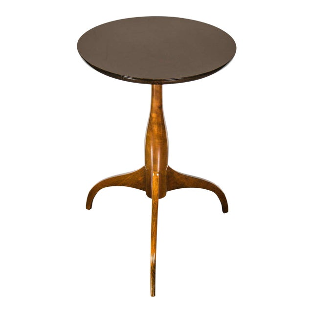 Mid-Century Modernist Burled Walnut Tripod Table by Ian Ingersoll For Sale