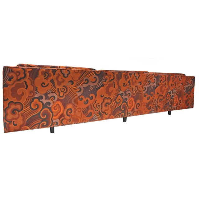 This phenomenal Mid-Century Modern Harvey Probber Tuxedo sofa, is upholstered in Jack Lenor Larson fabric. This upholstery...
