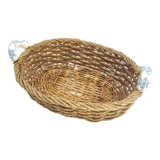Vintage Hand Made Wicker/ Rope Basket With Porcelain Handles Beach Cottage Farm For Sale