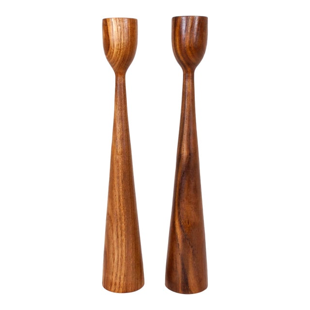 Danish Mid Century Teak Candle Holders - a Pair For Sale