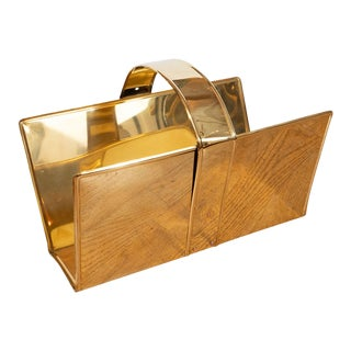 1960s Brass Magazine Rack For Sale