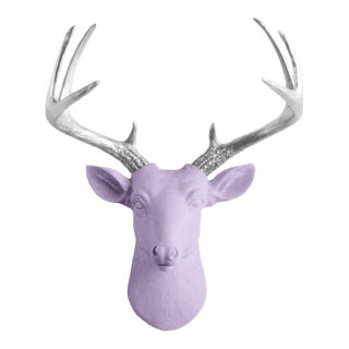 Wall Charmers Lavender & Silver Faux Taxidermy Mini Deer Head Mount