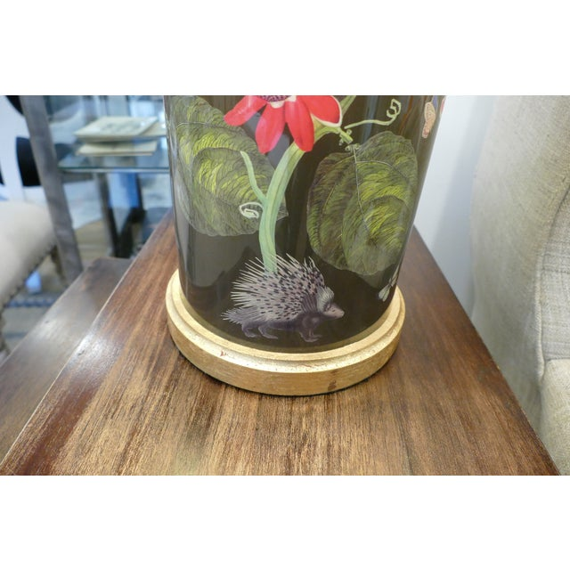 Decoupage Flower Lamp With Green Painted Shade For Sale - Image 10 of 12