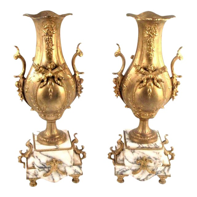 French Gold Gilt Urn Garniture Vases - A Pair - Image 1 of 9