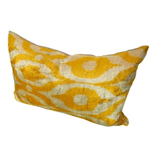 Velvet Front Ikat Pillow With Woven Back For Sale