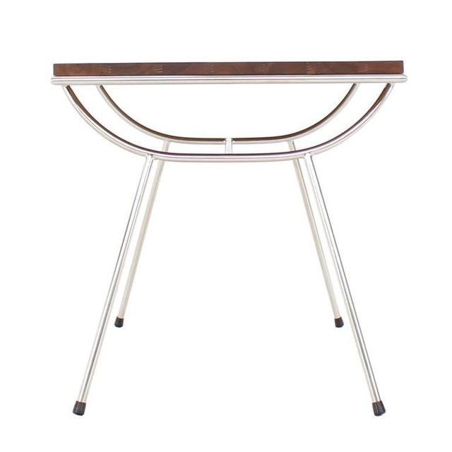 Pair of Sputnik Chrome Base Side Table For Sale - Image 5 of 9