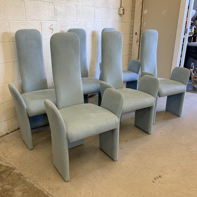 Contemporary Saporiti-Style Ultra Suede High Back Dining Chairs -Set of 6 For Sale - Image 3 of 10