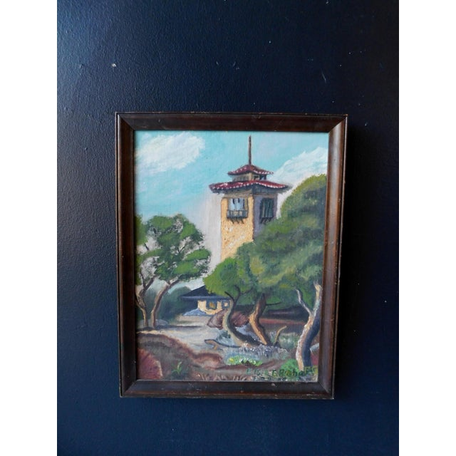 This sweet original oil painting of a Spanish Colonial setting is framed and signed Elsie Graham