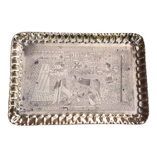 1960s Art Nouveau Brass Egyptian Revival Etched Serving Tray