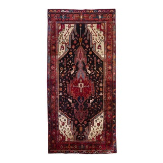 "Persian Hand Knotted Wool Zanjan Rug - 4'5"" x 9' For Sale"