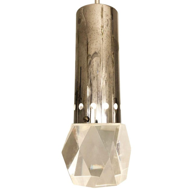 Mid 20th Century Mid 20th Century Facted Lucite Shade Stilnovo Pendant For Sale - Image 5 of 7