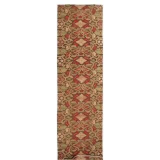 18th-Century Aubusson Style Inspired Design Beige and Brown Wool Runner - 3′7″ × 15′11″ For Sale