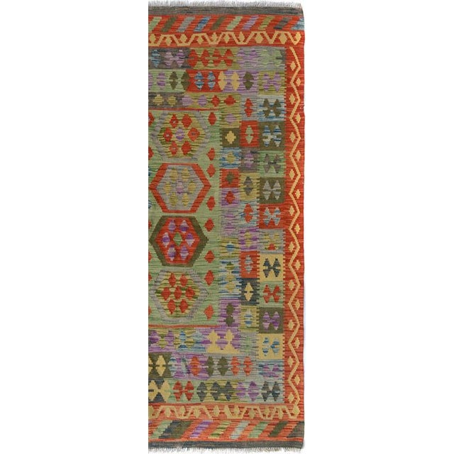 Arya Curt Green/Gold Wool Kilim Rug - 4'11 X 6'7 For Sale In New York - Image 6 of 7