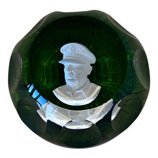 Mid-Century Cristal d'Albret France General Douglas MacArthur Cameo Crystal Paper Weight For Sale