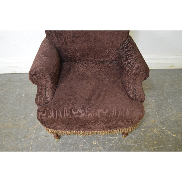 Mahogany Drexel Pair of High Back Upholstered Host Arm Chairs (B) For Sale - Image 7 of 11