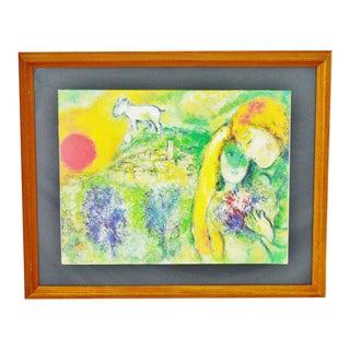 Vintage Les Amoureux de Vence, Marc Chagall Framed Poster For Sale