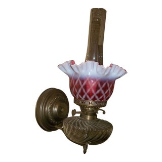 1970s Electric Wall Lamp Sconce with Cranberry Fenton Shade For Sale