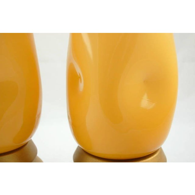 Brass Vintage Murano Glass Table Lamps Butterscotch For Sale - Image 7 of 9