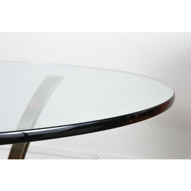 1970s Modern Brass and Glass Tripod Entry Table For Sale In New York - Image 6 of 9