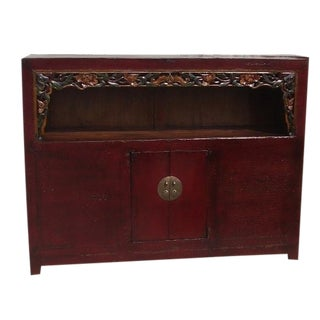 Antique Chinese Carved Shelf Sideboard For Sale