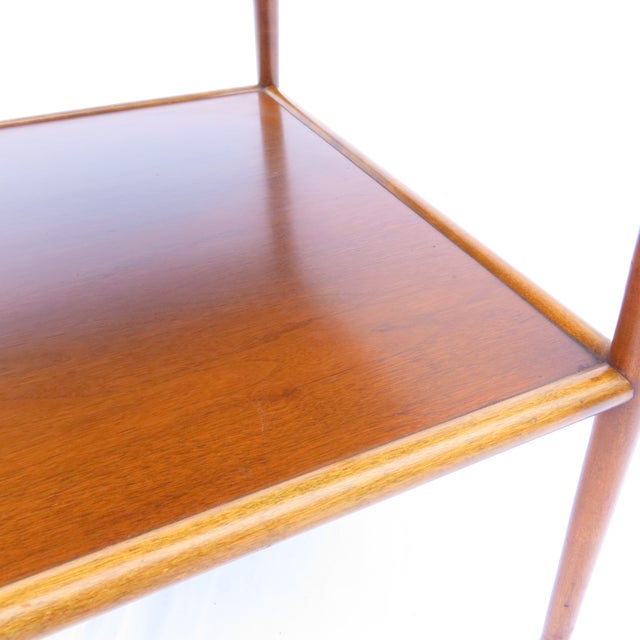 Walnut t.h. Robsjohn-Gibbings for Widdicomb Tapered Single Drawer Side Table For Sale - Image 7 of 10