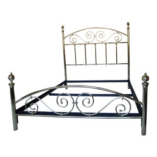 1980s Brass Queen Size Bed For Sale