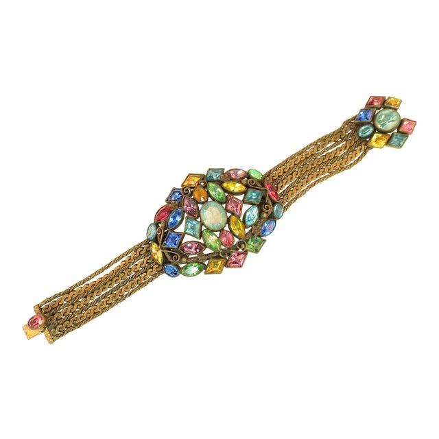 Czech Art Deco Jewel-Tone Bohemian Crystal & Chains Bracelet 1920s For Sale