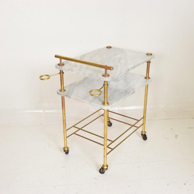1960s Mid Century Modern Bakery Service Table in Carrara Marble and Brass For Sale - Image 5 of 11