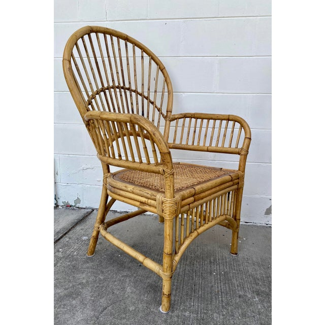 Vintage Rattan Fan Back Chairs- Set of 8 For Sale - Image 4 of 13