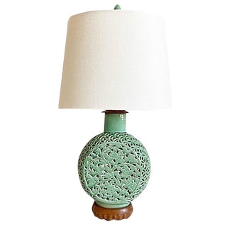 1950s Celadon Lamp & Shade For Sale