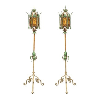 Italian Venetian Style Patinated Iron Floor Lamps, Pair For Sale