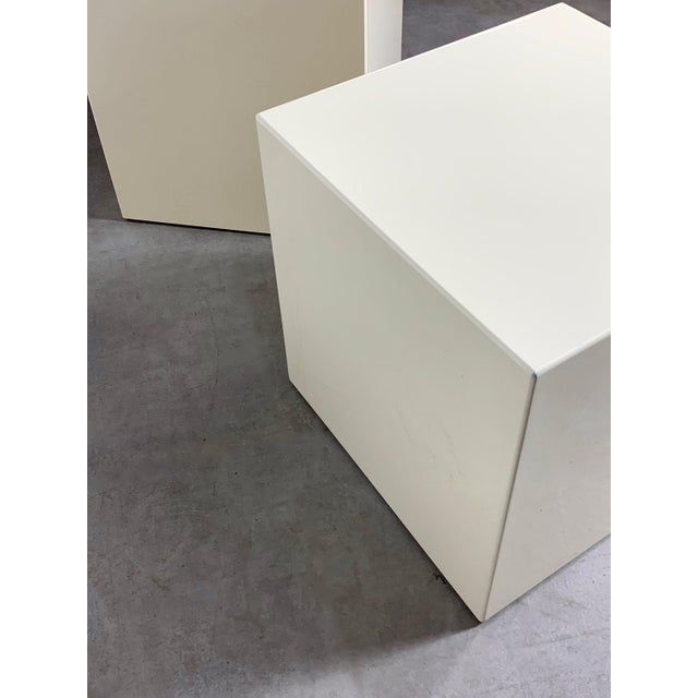 1970s Modern Lacquered White Cube Side Tables- A Pair For Sale - Image 9 of 11