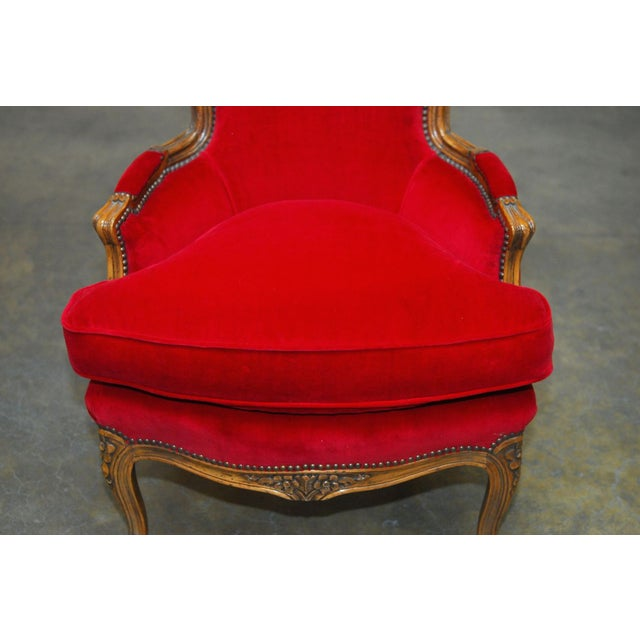 Antique French Louis XV Carved Red Velvet Bergere - Image 2 of 9
