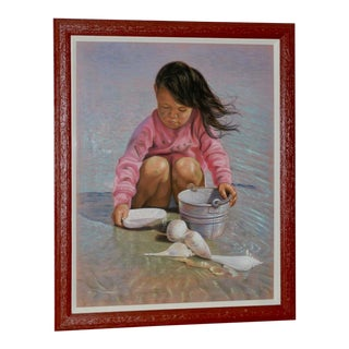 Collecting Seashells on the Seashore Original Pastel Painting For Sale