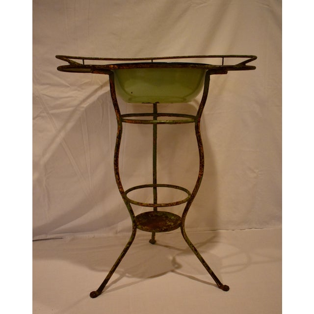 Green Wrought Iron Washstand With Enameled Copper Bowl For Sale - Image 8 of 11