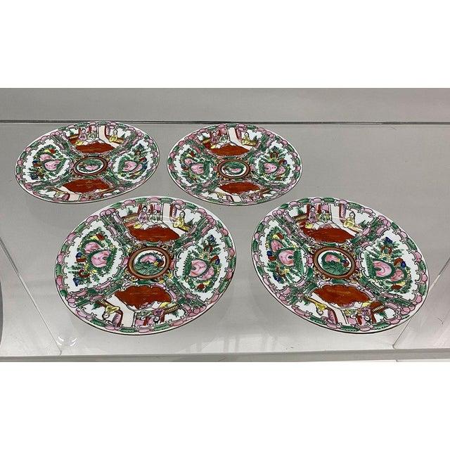 Ceramic Vintage Small Rose Medallion Decorative Plates Set of 4 For Sale - Image 7 of 12