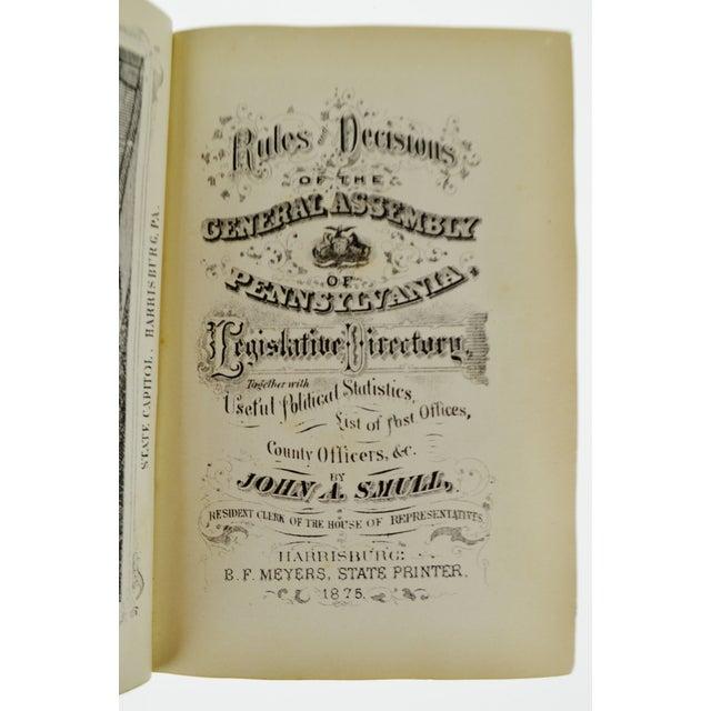 Paper 1875 Pennsylvania Legislative Handbook W/ Antique 1875 Map of Pennsylvania Smull For Sale - Image 7 of 13