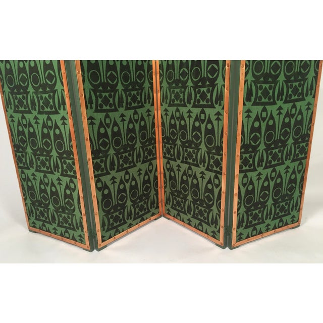 Hand Block Printed Black and Green Fabric Four Panel Screen For Sale - Image 4 of 11