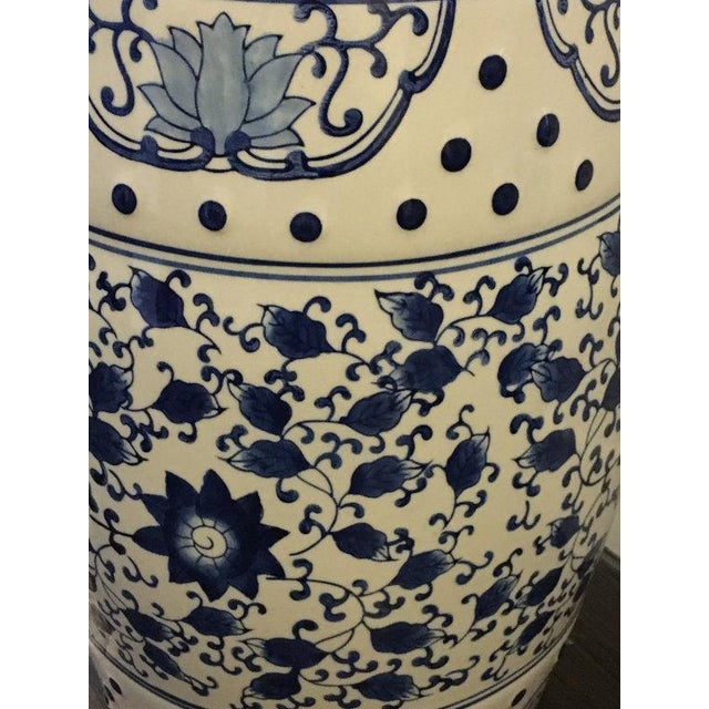 Blue and White Asian Garden Stool - Image 5 of 5