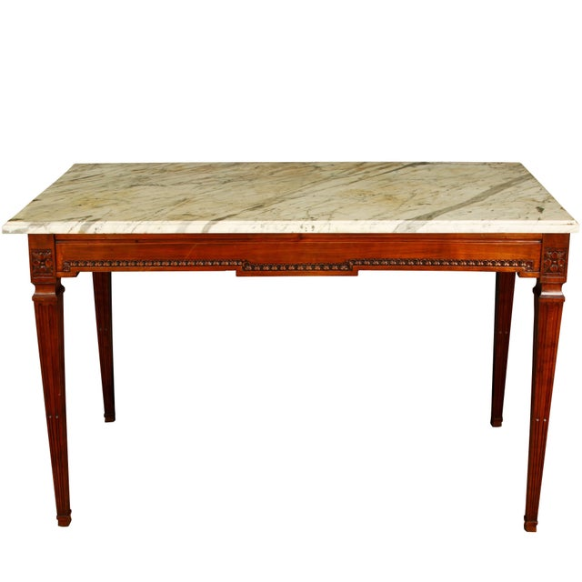 Mahogany Console with Marble Top For Sale - Image 4 of 4