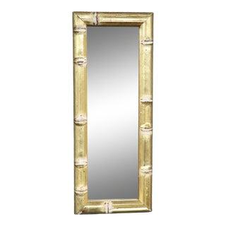 Diminutive Italian Gold Gilt Faux Bamboo Mirror For Sale